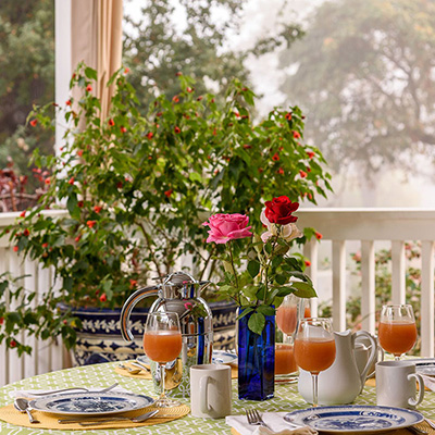 Breakfast on the porch at Meadowlark Country House and Resort