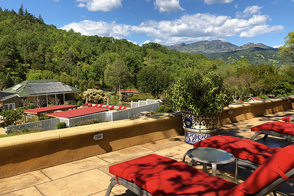 Stunning vista from the Upper Verandah with Calistoga Palisades and Pool Area