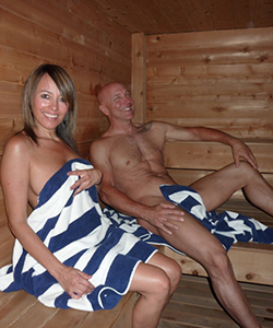 Guests getting a quick steam in our Finnish Style Sauna