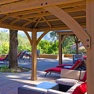 Upper deck of the resort with panoramic view of the Calistoga Palisades and Robert Louis Stevenson State Park